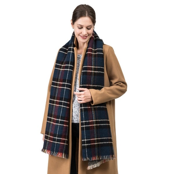 Glitzhome 6?L Cashmere-like Plaid Scarf with Fringes. Opens flyout.