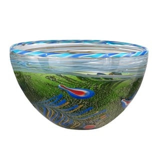 """12"""" Green Moss and Blue Red and Yellow Feather Decorative Hand Blown Glass Bowl https://ak1.ostkcdn.com/images/products/is/images/direct/9624a6dca5cba4049df524b62772a60f925a7426/12%22-Green-Moss-and-Blue-Red-and-Yellow-Feather-Decorative-Hand-Blown-Glass-Bowl.jpg?impolicy=medium"""