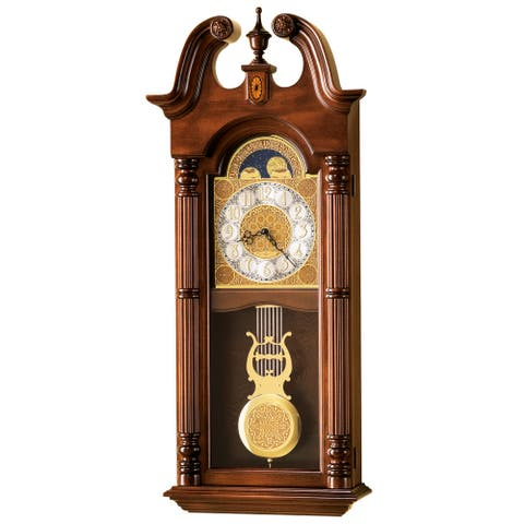 Howard Miller Maxwell Grandfather Clock Style Chiming Wall Clock with Pendulum, Vintage, Old World, Classic Design