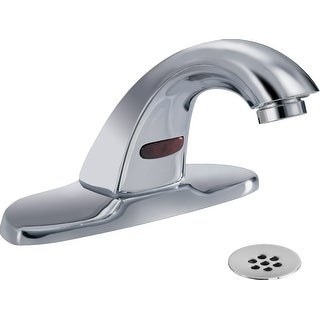 Delta 591LF-HGMHDF  Commercial Single Hole Battery Operated Electronic Bathroom Faucet with Grid Strainer - Chrome