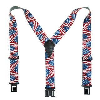 Perry Suspenders Men's Elastic Hook End American Flag Suspenders (Tall Available) - Red