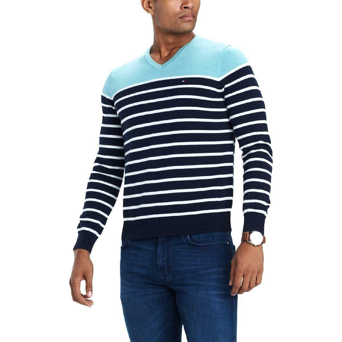 Tommy Hilfiger Striped Mens Large V-Neck Sweater