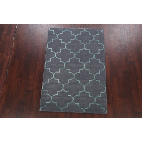 Hand Tufted Wool Silk Modern Trellis Oriental Area Rug Foyer Carpet 4 0 X 6 0 On Sale Overstock 31717313