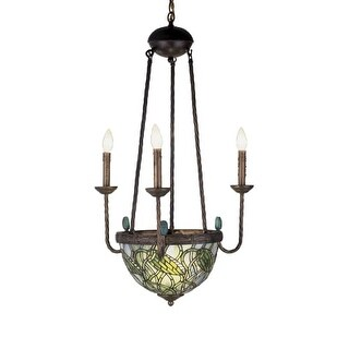 "Meyda Tiffany 49261 Lotus Bud 5 Light 22"" Wide Taper Candle Chandelier"