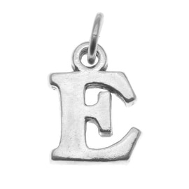 Sterling Silver Alphabet Charm, Initial Letter 'E' 16mm, 1 Piece, Silver