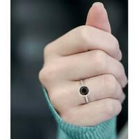 Prism Jewel 1.00Ct Round Black Diamond Bezel Set Solitaire Enagagement Ring