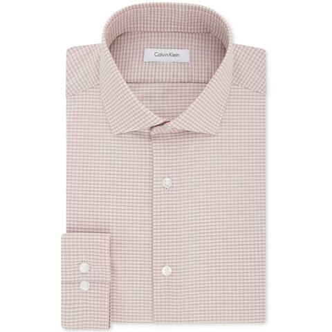 Calvin Klein Mens Checkered Button Up Dress Shirt