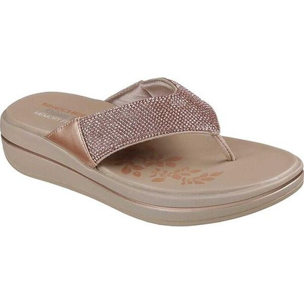 Skechers Women's Relaxed Fit Upgrades Stone Cold Thong Sandal Rose Gold