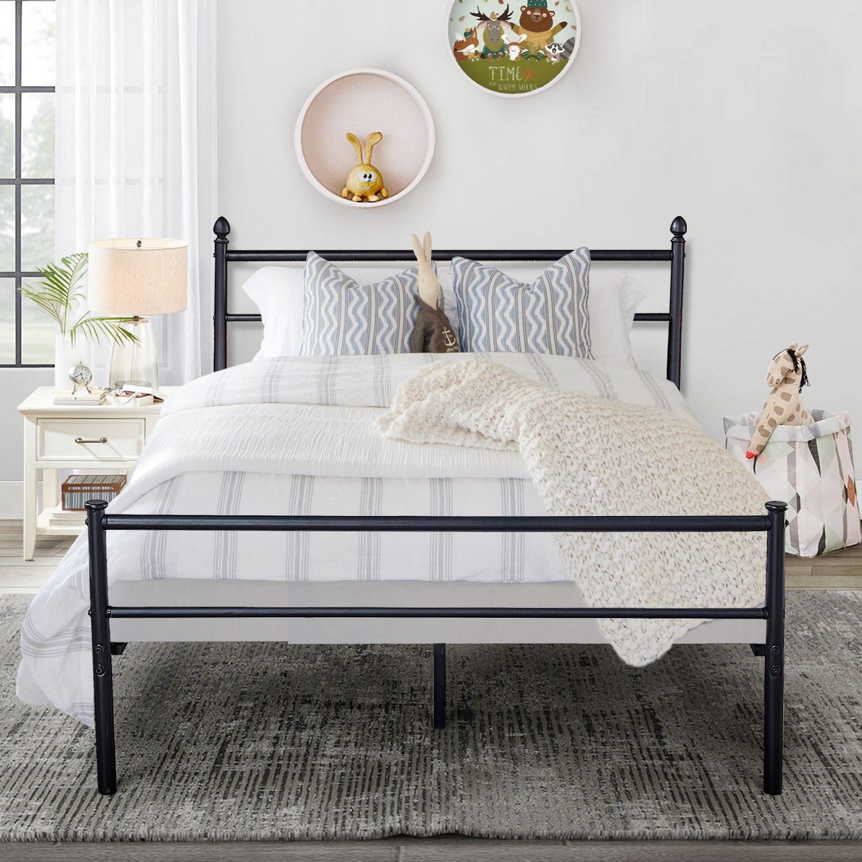 Shop Vecelo Reinforced Metal Bed Frame Platform With Headboard
