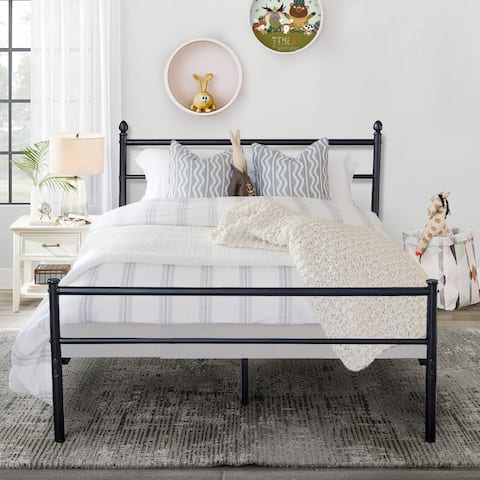 VECELO Reinforced Metal Bed Frame Platform with Headboard & Footboard(Fixed Bed Frame,Twin/Full/Queen Size 3 Opotion)