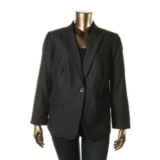 Tahari ASL Womens Plus Textured Lined One-Button Blazer - 22W