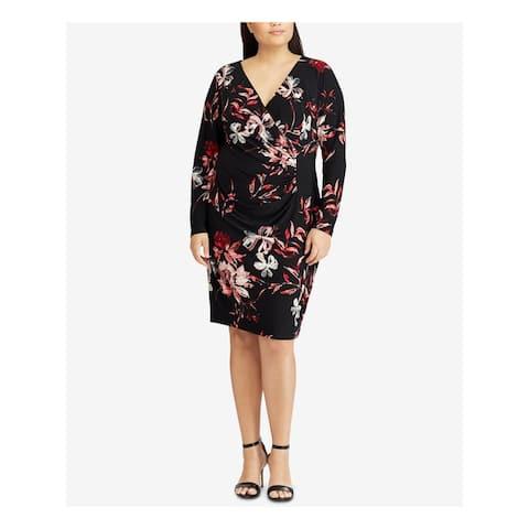 AMERICAN LIVING Black Long Sleeve Knee Length Sheath Dress Size 8