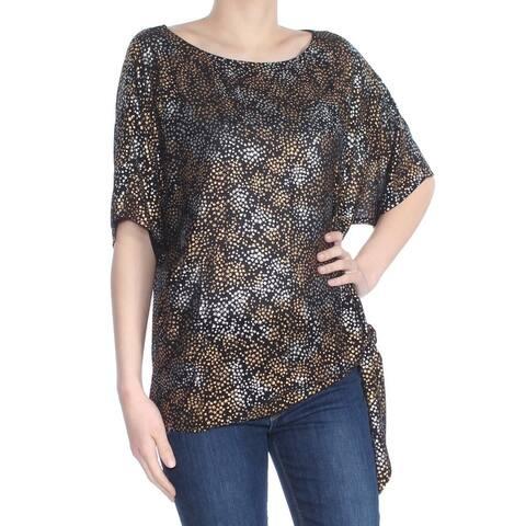 MICHAEL KORS Womens Black 3/4 Sleeve Cowl Neck Evening Top Size XS