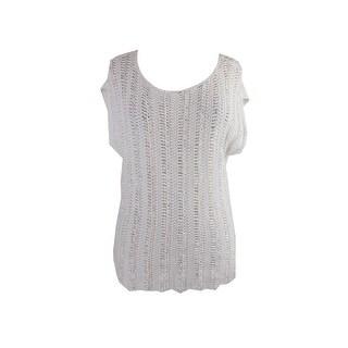 Lauren Ralph Lauren White Crocheted Cap-Sleeve Sweater  M