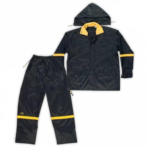 CLC R103M 3-Piece Deluxe Nylon Rain Suit, Black, Medium