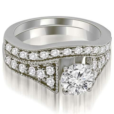 1.50 CT Vintage Cathedral Round Cut Diamond Bridal Set in 14KT Gold - White H-I
