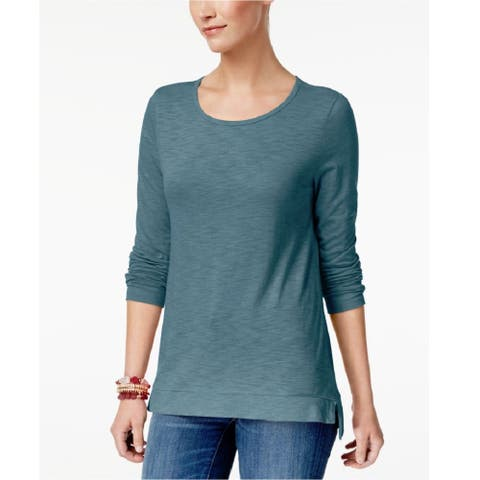Style & Co Women's High Low Long Sleeve T-Shirt Soft Teal Size 2 Extra Large - Blue - XX-Large