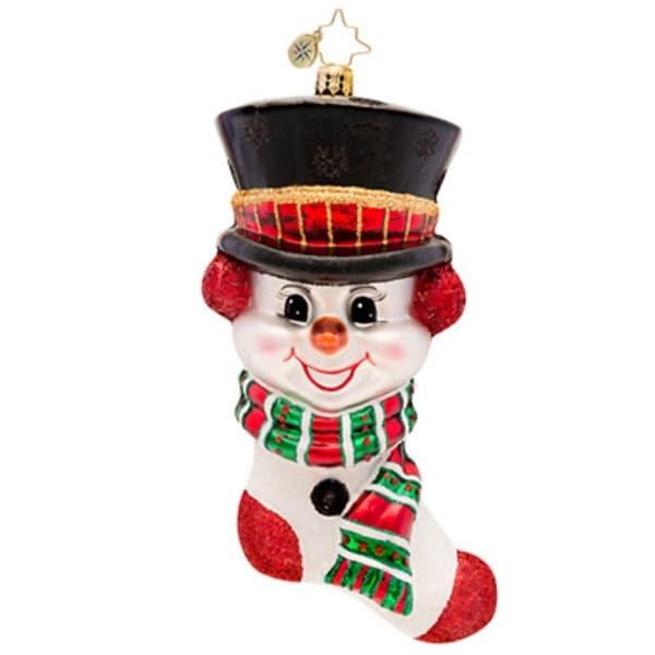Christopher Radko Glass Frosty 'N' Cozy Snowman Stocking Christmas Ornament #1017119