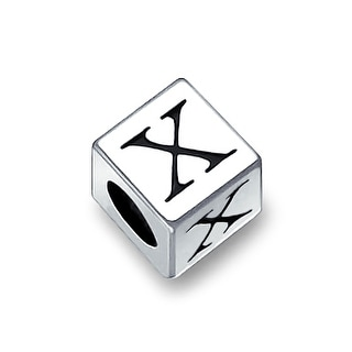Bling Jewelry 925 Sterling Silver Block Letter X Bead Charm