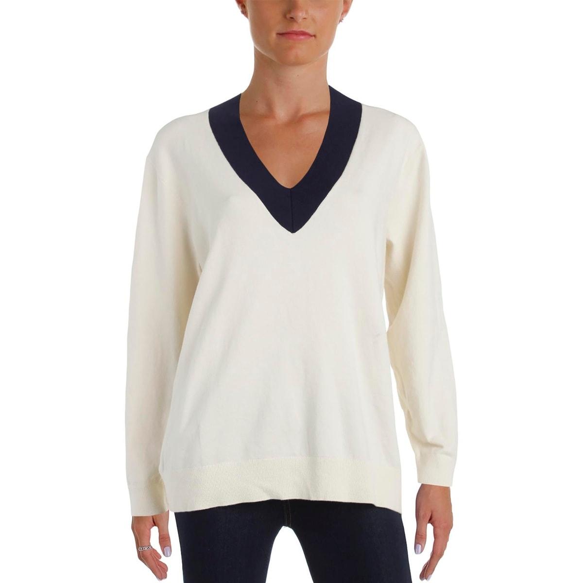 e7de0dd7b54fe Ralph Lauren Womens Pullover Sweater Contrast Trim Ruched V-Neck - m