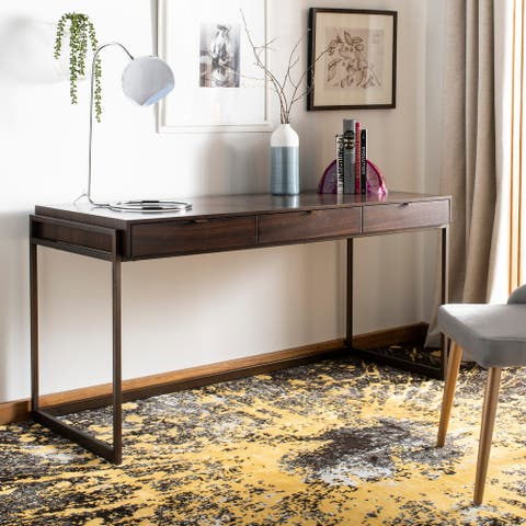 Safavieh Couture High Line Collection Genevieve 3-Drawer Smoked Eucalyptus Writing Desk