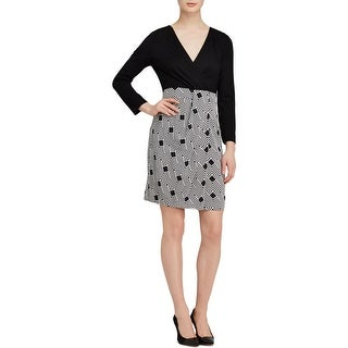 Diane Von Furstenberg Womens Wear to Work Dress Ponte Geometric - 10