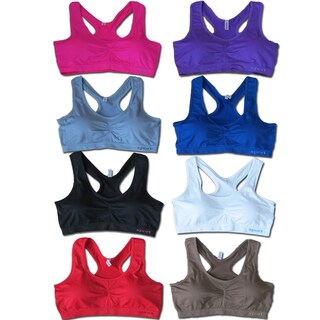 Women's 6-Pack Seamless Racer Back Solid Color Padded Sports Bras