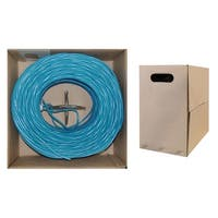 Offex Plenum Cat6 Bulk Cable, Blue, Solid, UTP (Unshielded Twisted Pair), CMP, 23 AWG, Pullbox, 1000 foot