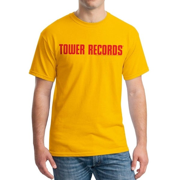 269b38605 Shop Tower Records Horizontal Men's Gold T-shirt - On Sale - Free Shipping  On Orders Over $45 - Overstock - 17067488