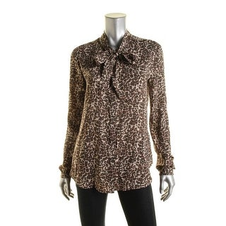 Three Dots Womens Kathleen Satin Animal Print Blouse