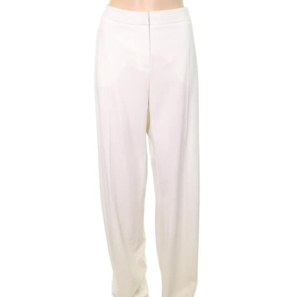 Max Mara NEW White Ivory Womens Size 12 Tab-Front Wool Dress Pants