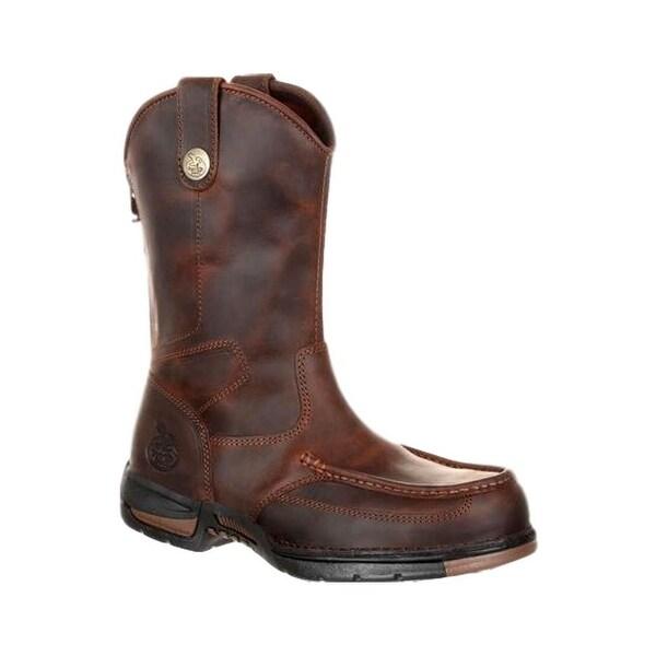 Georgia Boots Work Mens Athens Moc Toe Rubber Dark Brown