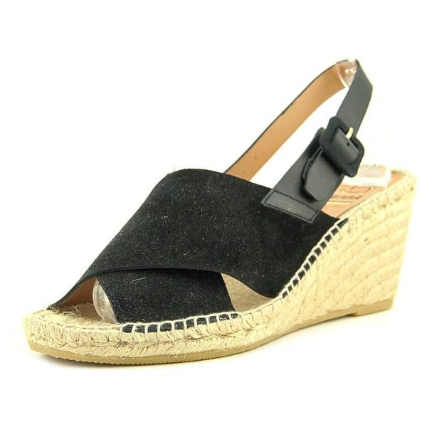 Kanna Serraje Women Open Toe Leather Black Wedge Sandal