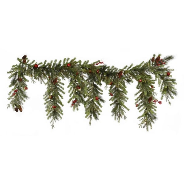 "6.5' x 35"" Red Berry and Ball Ornament Mixed Pine Artificial Christmas Garland - Unlit - green"