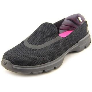 Skechers Go Walk 3 Women Round Toe Synthetic Black Walking Shoe