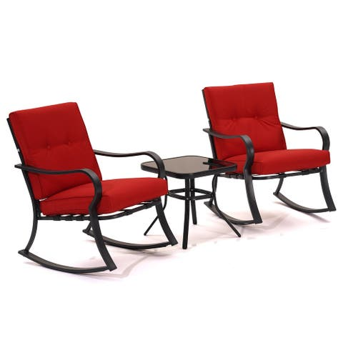 3 Piece Outdoor Rocking Bistro Set with Coffee Table