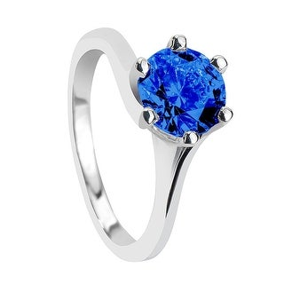 LINNA Classic 6 Prong Solitaire Round Blue Sapphire Engagement Ring
