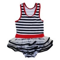 Wenchoice Little Girls Navy White Stripe Skirted One Piece Swimsuit