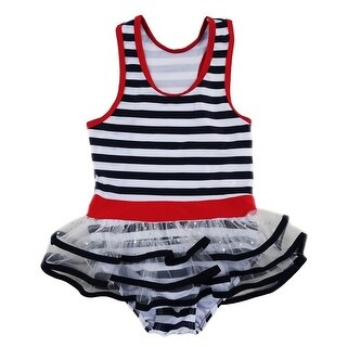 Wenchoice Little Girls Navy White Stripe Skirted One Piece Swimsuit (Option: 7)