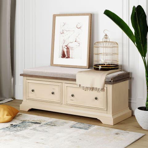 Merax Wood Storage Bench with 2 Storage Drawers, Fully Assembled