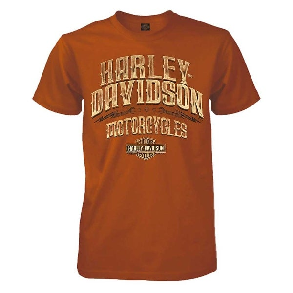 ed96d5f06 ... Shirts; /; Men's T-Shirts. Harley-Davidson Men's Leather Options  Short Sleeve Crew Tee, Orange