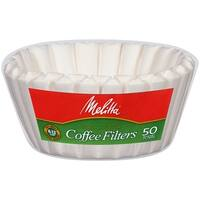 Melitta 8-12 Cup Basket Coffee Filters, White, 50 Count