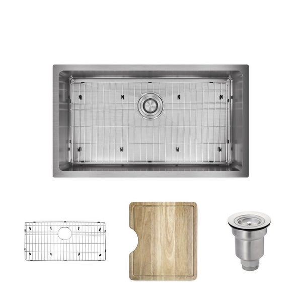 """Rene R1-1022S 31-1/4"""" Single Basin Stainless Steel Kitchen Sink - Basin Rack, Basket Strainer, and Cutting Board Included"""