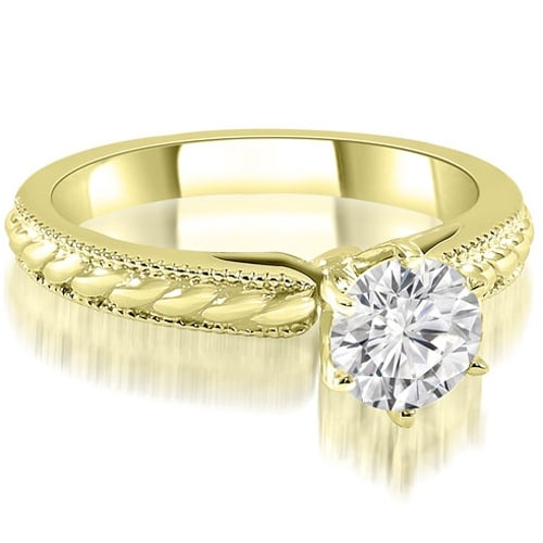 1.00 cttw. 14K Yellow Gold Cathedral Solitaire Round Diamond Engagement Ring