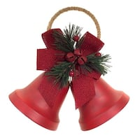 """Pack of 4 Two Rustic Red Hanging Bells with Holly and Berries with Decorative Bells 8"""""""