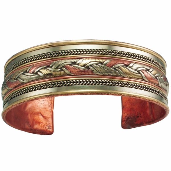 Women's Tibetan Healing Mixed Metal Cuff Bracelet - Ribbon - mixed metal
