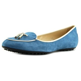 Tod's Ballerina Dee Pantofola Laccetto Women Round Toe Suede Blue Flats