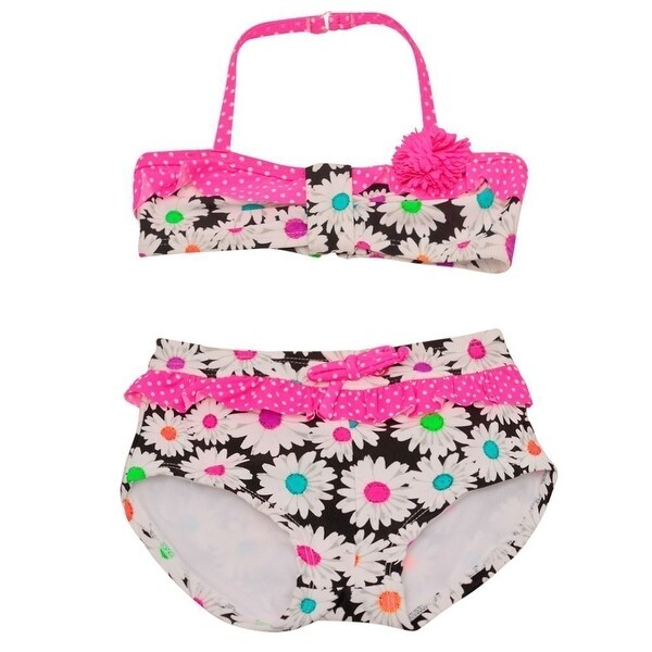 ef8d1b89ac Shop Breaking Waves Little Girls Fuchsia Flower Daisy Bandeau 2 Pc Swimsuit  - Free Shipping On Orders Over  45 - Overstock.com - 19292494