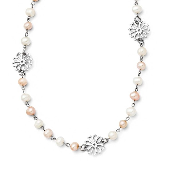 Chisel Stainless Steel Slip-on Freshwater Cultured Pearl with Flowers Necklace - 32.5 in