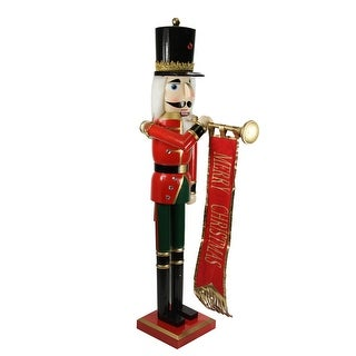 """36"""" Decorative Red, Blue and Gold Wooden Christmas Nutcracker Soldier with Banner"""